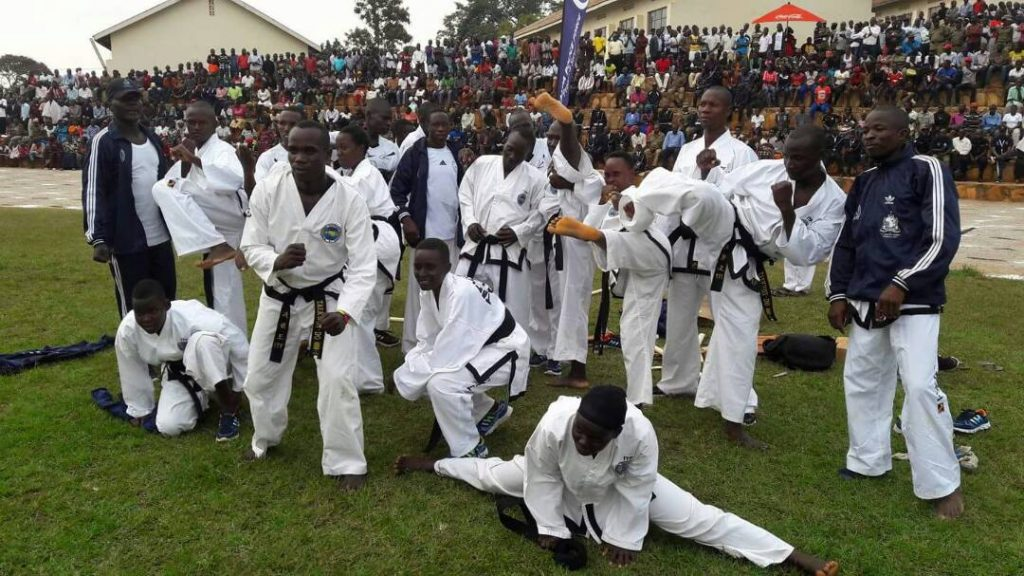 Caption: Uganda police tae kwon-do team moments after exhibiting their defensive skills