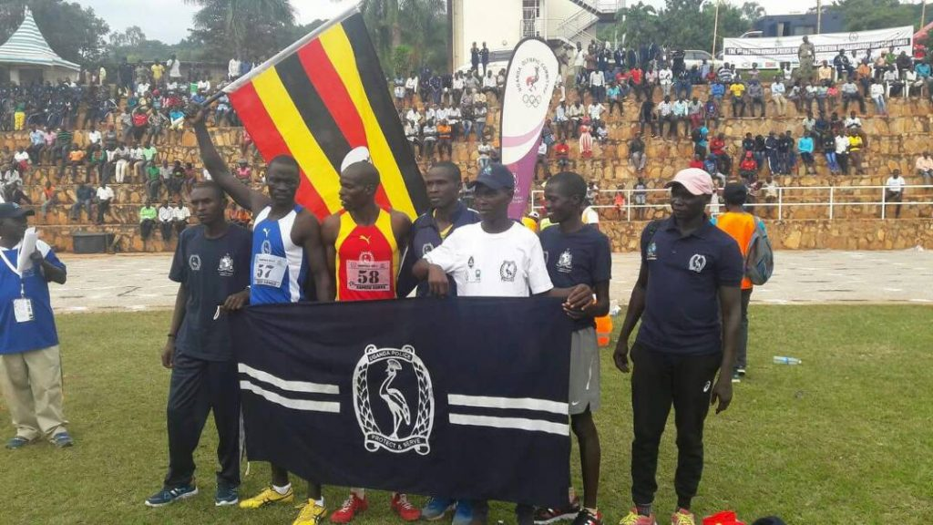 Caption: Ugandan team that won 200m men