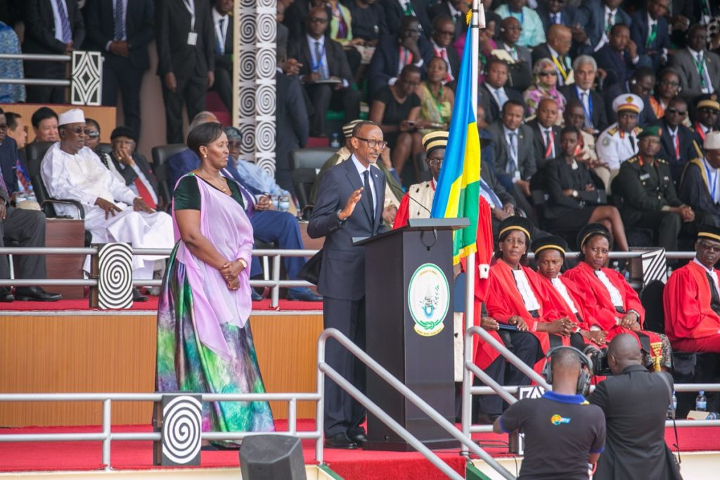 Kagame delivering his inaugural speech