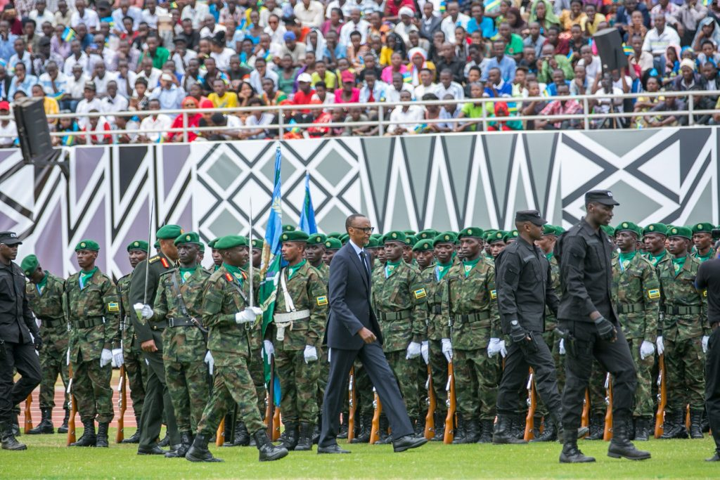 Kagame inspecting a guard of honor